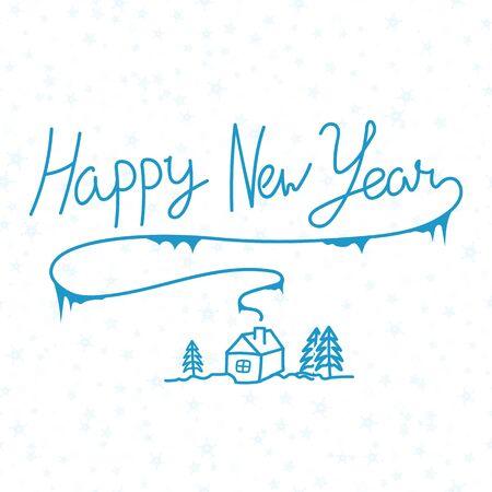 Happy New Year linear calligraphy hand drawn inscription design. Çizim