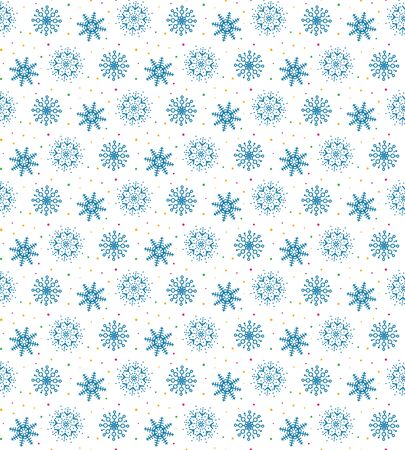 Blue pattern of many snowflakes on white illustration.