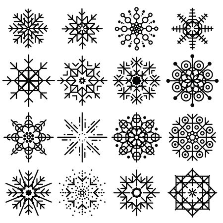 Black snowflakes illustration.