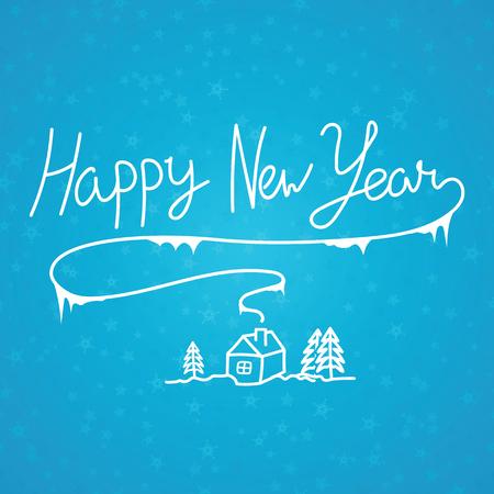 Happy New Year linear calligraphy hand drawn inscription. Çizim