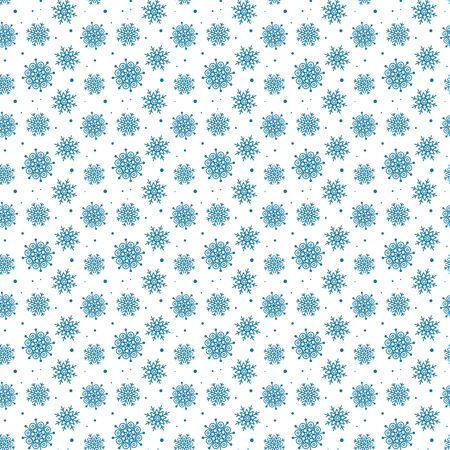 Blue pattern of many snowflakes. Çizim
