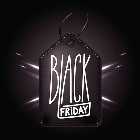 High quality dark leather badge for Black friday shopping day. Handdrawn linear inscription. Leathern label for your web business retail Çizim