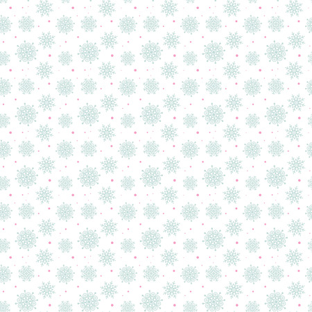 Light seamless blue pattern of many snowflakes on white background. Soft Christmas winter theme for gift wrapping. New Year seamless background for website