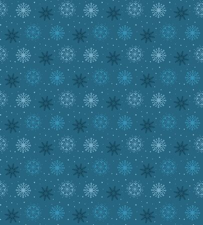 Dark seamless pattern of many light snowflakes on blue background. Soft Christmas winter theme for gift wrapping. New Year seamless background for website