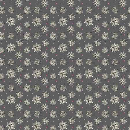Elegant seamless pattern of many gold and purple snowflakes on dark grey background. Christmas winter theme for gift wrapping. New Year seamless background for website.
