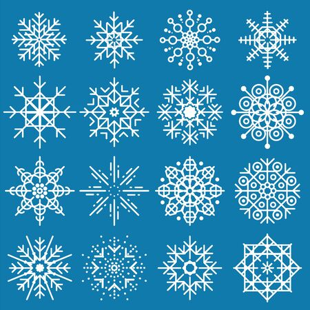 White snowflakes big set of different variations on blue background. Thin linear snow collection. New year snow decoratins. Winter style