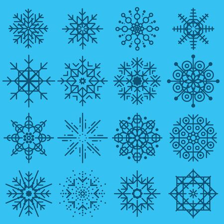 White snowflakes big set of different variations on azure background. Thin linear snow collection. New year snow decoratins. Winter style