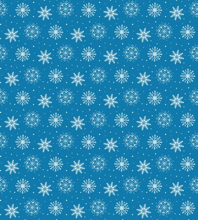 Seamless pattern of many white snowflakes on blue background. Christmas winter theme for gift wrapping. New Year seamless background for website