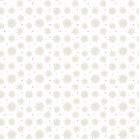 Light seamless gold pattern of many snowflakes on white background. Soft Christmas winter theme for gift wrapping. New Year seamless background for website Çizim