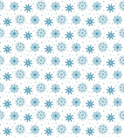Seamless blue pattern of many snowflakes on white background. Christmas winter theme for gift wrapping. New Year seamless background for website