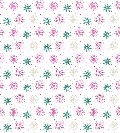 Colorful seamless pattern of many snowflakes on white background. Christmas winter theme for gift wrapping. New Year seamless background for website Illustration