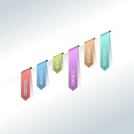 Colorful web stickers, tags and labels. Colorful hanging site menu