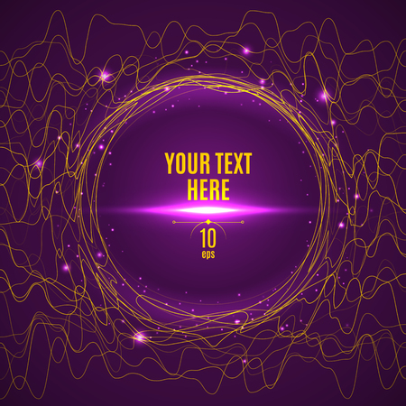 Abstract yellow glared wave lines on purple background. Banner template Çizim