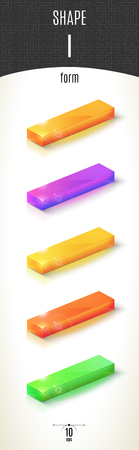 I-form shiny 3D-part on white background set in different colors. Vector illustration Vettoriali