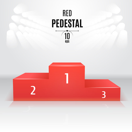 Red 3D-pedestal template. Exhibition place. Designated after the competition Çizim