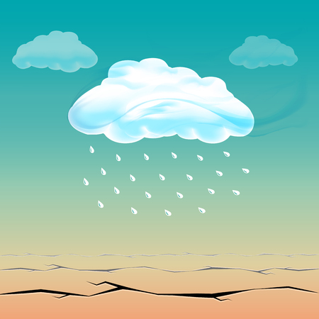 The long-awaited cloud rain in the hot desert. Bright clouds above dry land Çizim