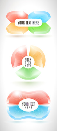 Infographic business banner set from abstract colorful 3D-forms. Elegant shiny shapes with place for label.