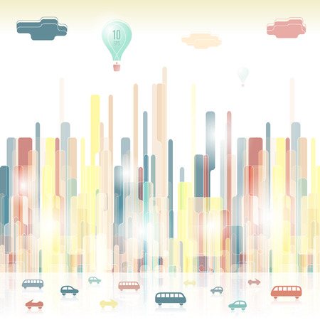 Futuristic stylized city. Vibrant urban silhouettes with highway. Vector illustration