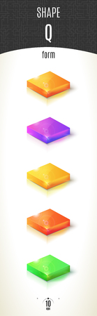 Q-form shiny 3D-part on white background set in different colors. Vector illustration Stok Fotoğraf