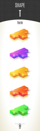 T-form shiny 3D-part on white background set in different colors. Vector illustration