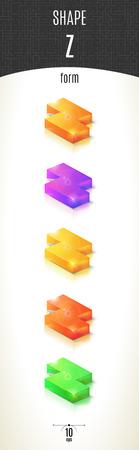 Z-form shiny 3D-part on white background set in different colors. Vector illustration Stok Fotoğraf
