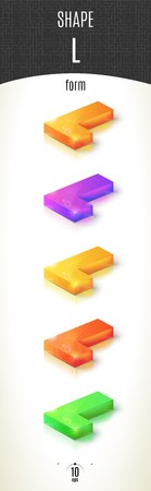 L-form shiny 3D-part on white background set in different colors. Vector illustration