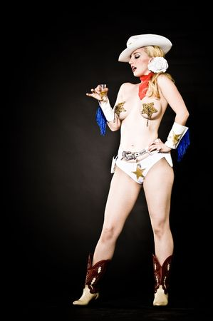 bombshell: Phoenix burlesque performer Pyrasutra, shot in the studio.