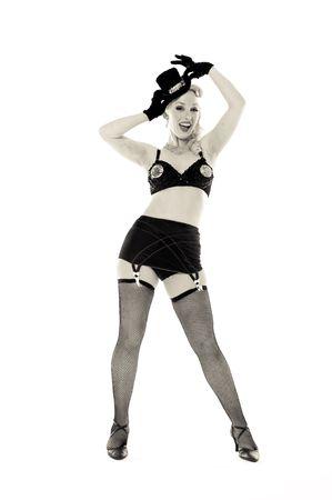 medias de red: Una bailarina, fotografiado en el estudio.  Foto de archivo