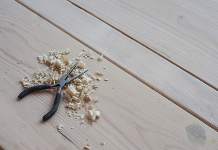 woodworking: Woodworking set, with intruments and materials.