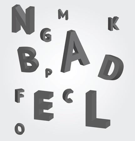 disordered: flying letters Illustration