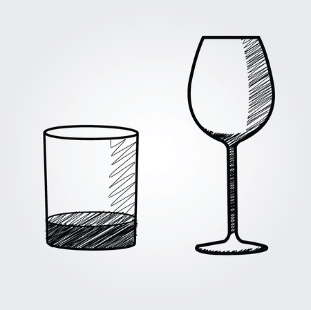 ferment: hand drawn glasses Illustration