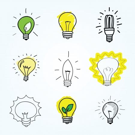 bombilla de luz: Conjunto de bombillas dibujados a mano