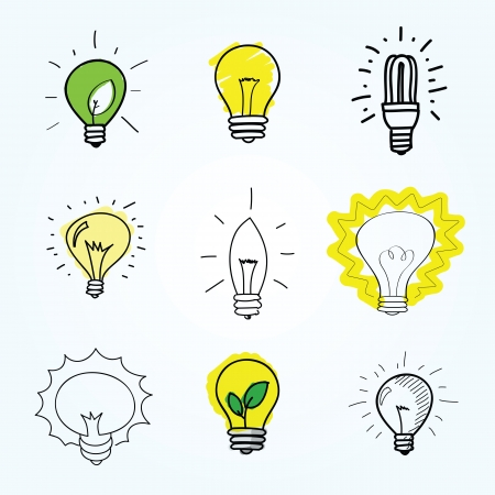 bulb light: Set of Hand-drawn light bulbs Illustration