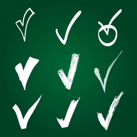 cheque en blanco: Conjunto de verificaci�n a mano Vectores