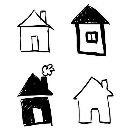 houses: Set of hand-drawn houses Illustration
