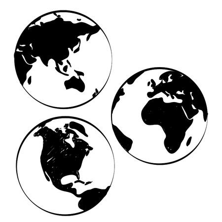 mundo manos: Conjunto de mapas dibujados a mano mundo Vectores