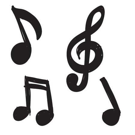 iconos de m�sica: Conjunto de notas de la m�sica dibujadas a mano