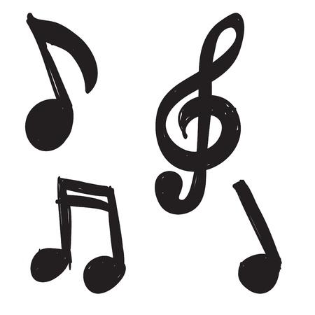 Set van de hand getekende muzieknoten Stock Illustratie