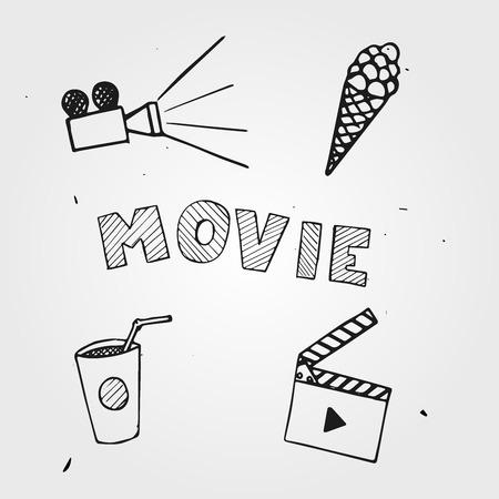 movie set: Vector movie set hand drawn