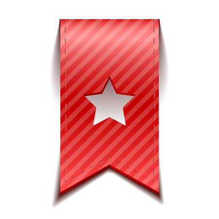 bookmarks: Vector red bookmarks with star, isolated, On White Background