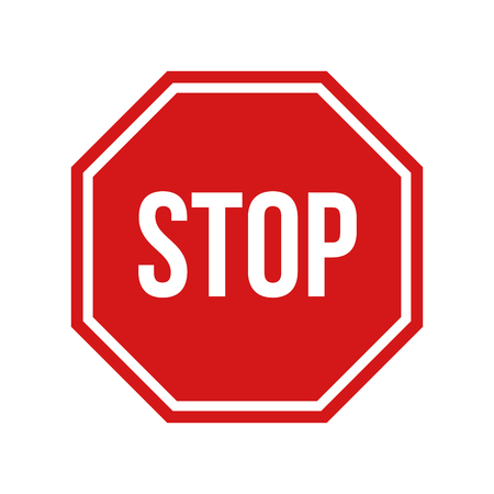 caution sign: Vector illustration of red stop sign,  on white background
