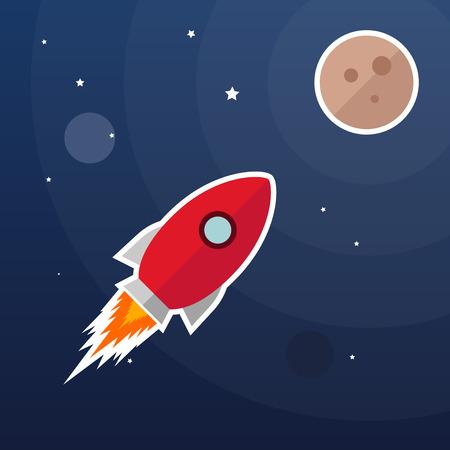 rocketship: Vector rocket illustration, galaxy background, moon light Illustration
