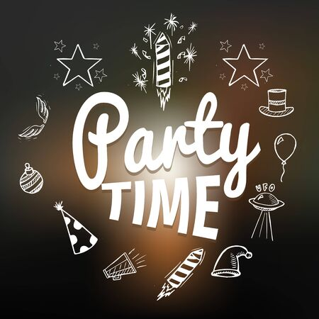 party time: Party time with hand drawn elements, vector