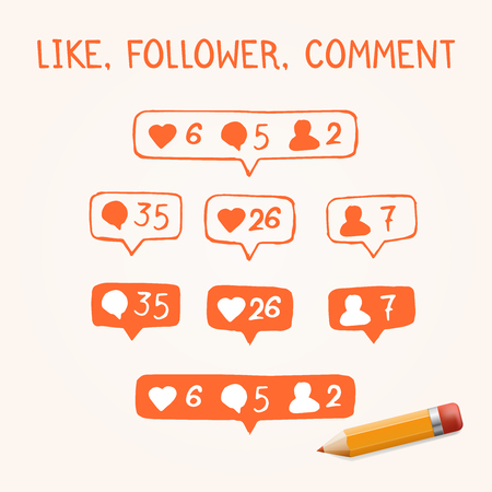 follower: Like, follower, comment icons on white background Illustration