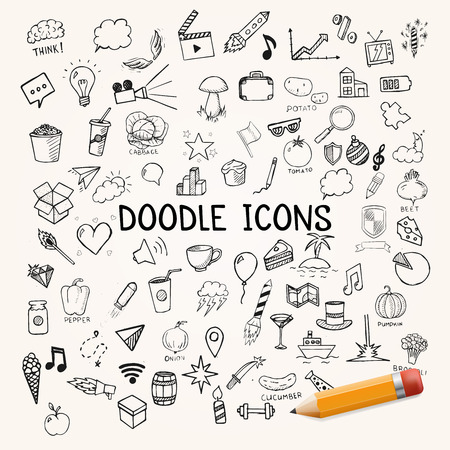 pencil drawn: Set of doodles icons, vector hand-drawn objects, illustration