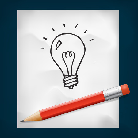 red pencil: Lightbulb doodles icon and red pencil, vector illustrtion Illustration