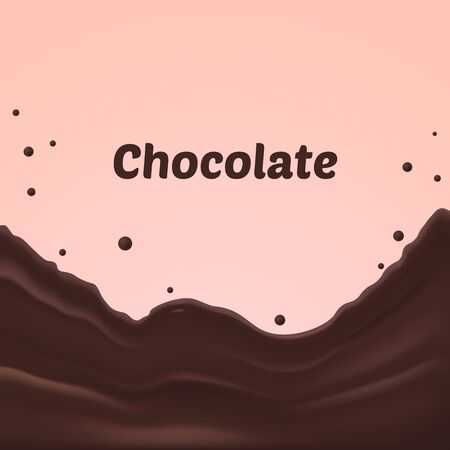 chocolate splash: chocolate splash on pink background, chocolate splashes vector illustration