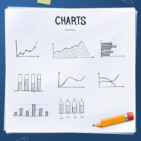 graphic business diagram collection: Set of doodles charts with yellow pencil, Hand drawn objects Illustration