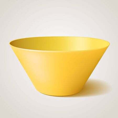 empty bowl: Empty vector bowl, yellow illustration, with shadow