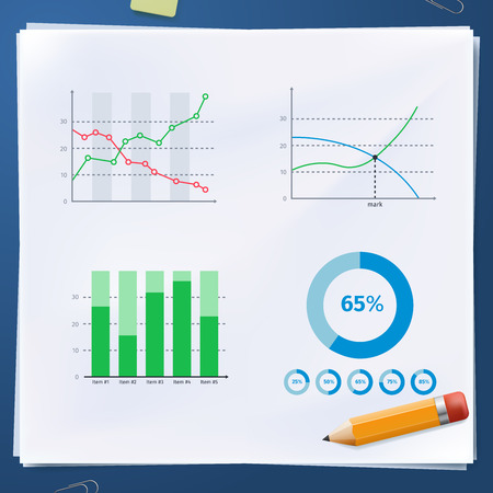 graphic business diagram collection: Group of business diagram on paper with yellow pencil